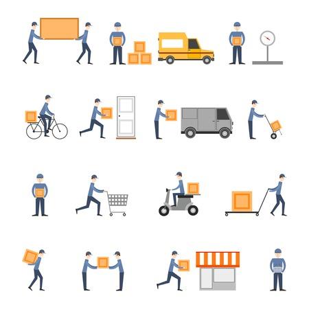 Entrega persona flete logística empresarial servicio iconos plano conjunto aislado ilustración vectorial Ilustración de vector