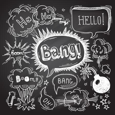 oops: Comic speech bubble chalkboard design element symbol boom bang bomb vector illustration Illustration