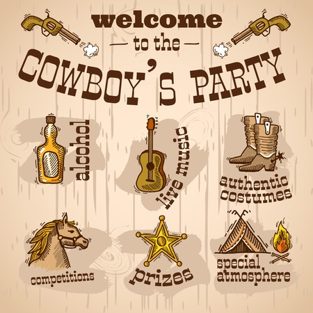 Wild west cowboy hand drawn party set with alcohol live music authentic costume vector illustration Illustration