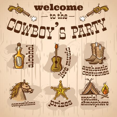 Wild west cowboy hand getekend party set met alcohol live muziek authentieke kostuum vectorillustratie