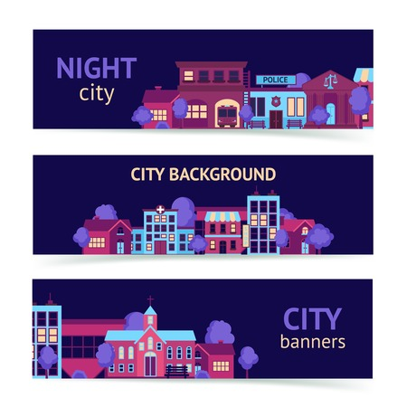 City night scape town architecture banner set horizontal isolated vector illustration Illustration