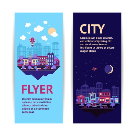 scapes: City night scape night and day town architecture vertical banner set isolated vector illustration