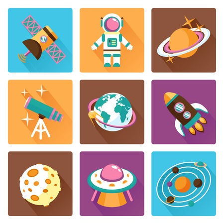 business space: Space and astronomy flat icons set with telescope globe rocket isolated vector illustration