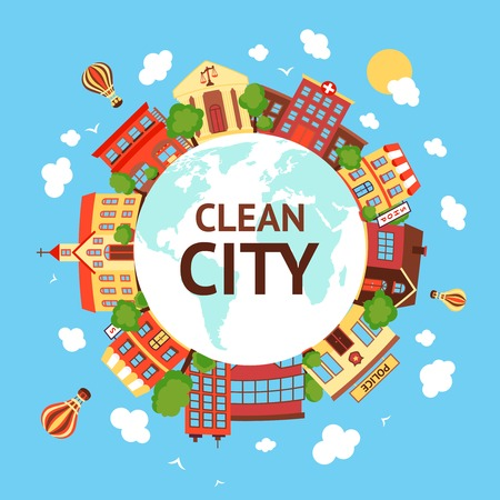 Clean city street scape background with globe retro buildings around vector illustration