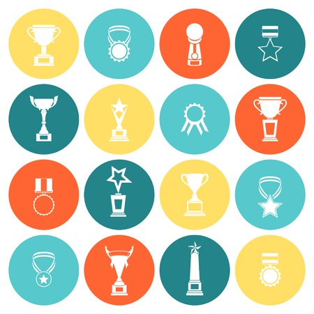sports winner: Trophy icons flat set of competition rewards winner prizes isolated vector illustration