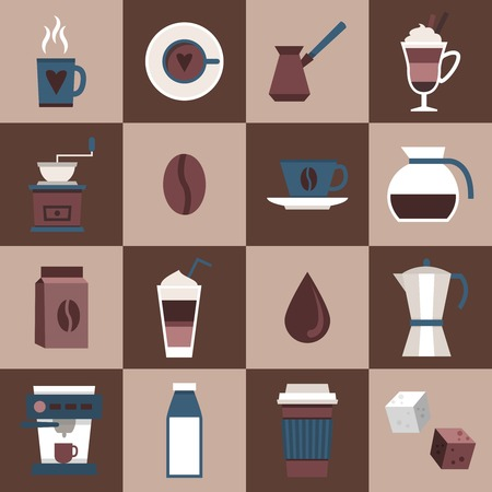 pouch: Coffee flat icons set with cup mug hot dring pot turk pouch jar isolated vector illustration