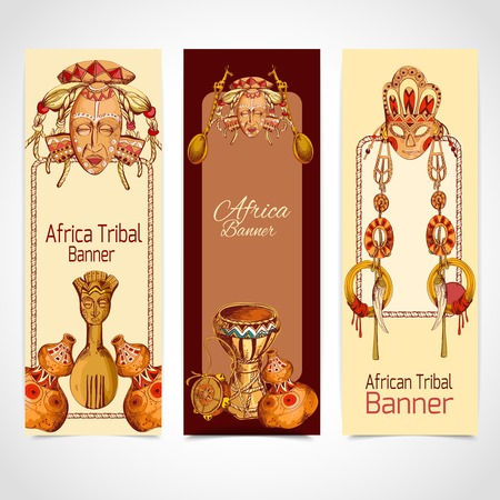 african drums: Africa tribal sketch colored vertical banner set with mask drum vase isolated vector illustration
