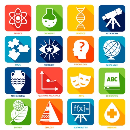 Science areas flat icons set with physics chemistry genetics isolated vector illustration Vector
