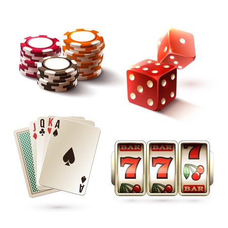 gambling chips: Casino design elements with gambling poker play realistic icons set isolated vector illustration