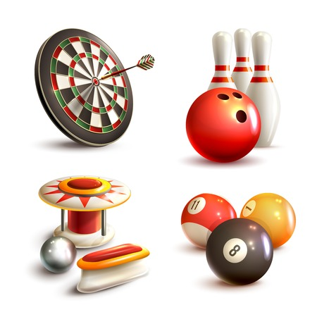 pinball: Game realistic icons set with bowling pinball billiard darts isolated vector illustration