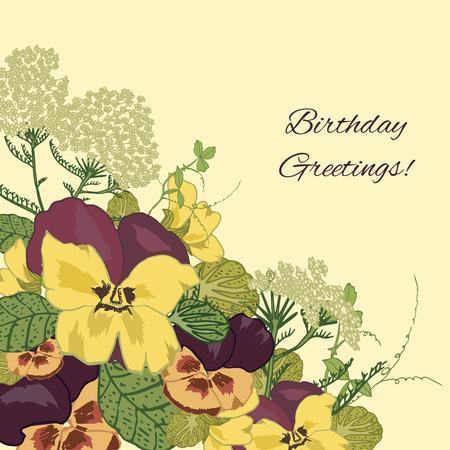 petunia: Vintage flowers birthday greetings postcard background with pansy petunia viola vector illustration
