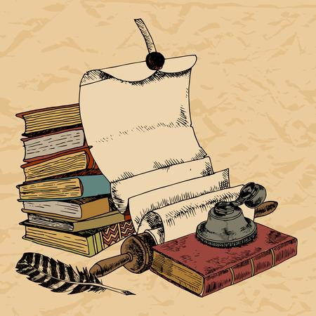Vintage boeken met papier scroll veer en inktpot gekleurde hand getekend decoratieve achtergrond vector illustratie