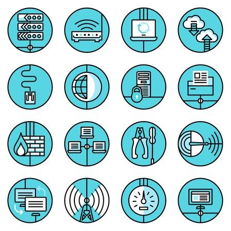 web technology: Tecnologia web la sicurezza dei dati di rete della linea blu Set di icone con il server di router pannello di controllo isolato illustrazione vettoriale Vettoriali