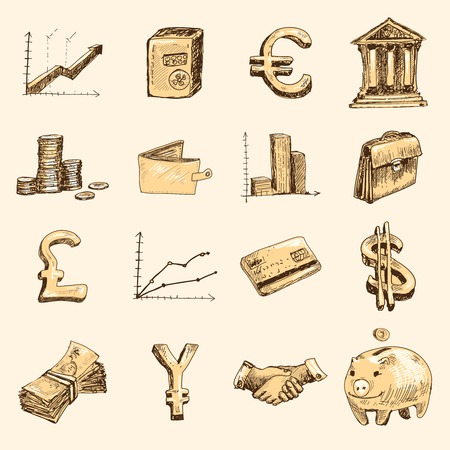 Finance banking business money exchange market trading doodle gold icons set isolated vector illustration Illustration