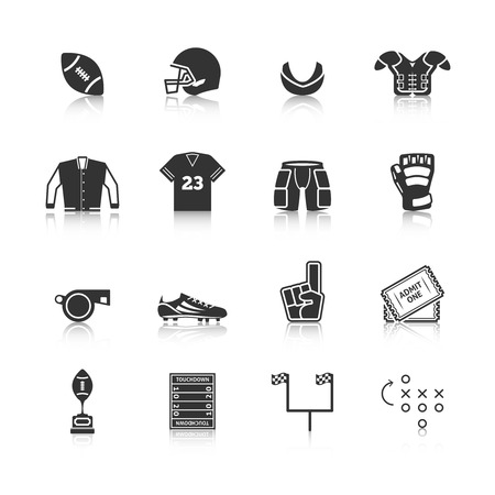 protective glove: Rugby tournament players body protective sportswear equipment black icons set with gum shield abstract isolated vector illustration