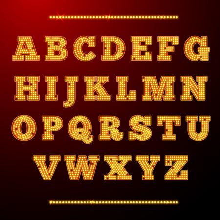 ランプ光アルファベット文字ネオン レトロ フォント ベクトル図を輝く