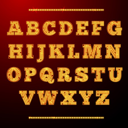 theatre symbol: Lamp light alphabet shining letters neon retro font vector illustration