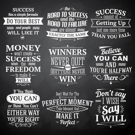 inspirational: Success motivational and inspirational quotes chalkboard emblems set isolated vector illustration