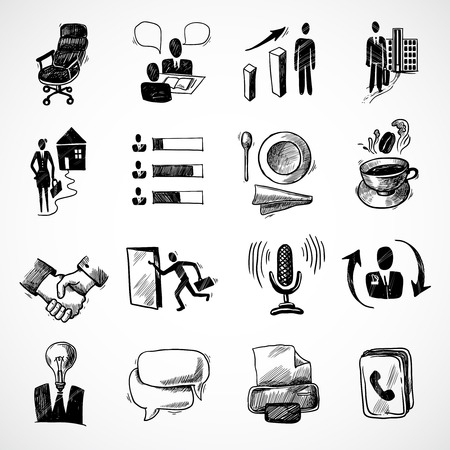 Office business sketch icons set with tea cup handshake chart isolated vector illustration