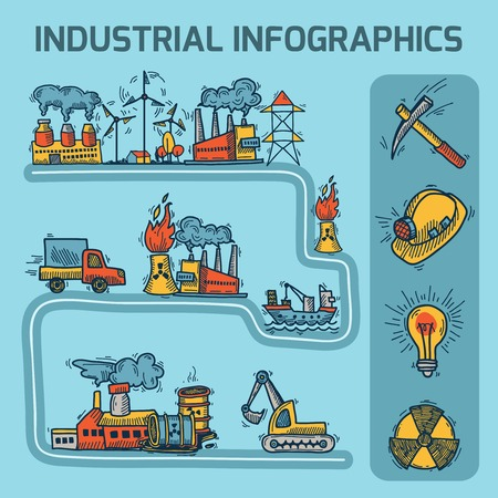 power industry: Industrial colored sketch infographic set with petrol and power industry elements vector illustration Illustration