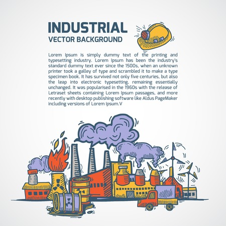 mining ship: Industrial colored sketch background template set with factory pipes truck and title vector illustration