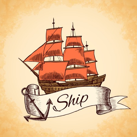 tall ship: Sailing tall ship wooden vintage clipper with red sails nautical emblem with ribbon and rope vector illustration