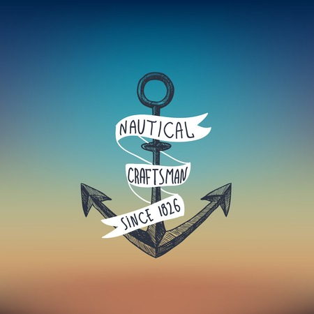 nautical vessel: Nautical sketch background with anchor and white ribbon vector illustration Illustration