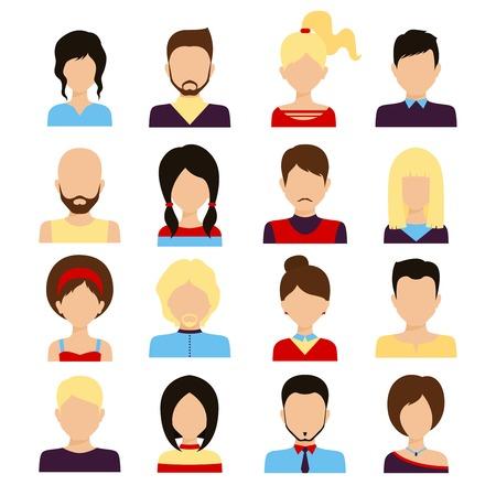 Personnes de sexe masculin avatar et femelle visages humains icônes de réseaux sociaux fixés isolée illustration vectorielle