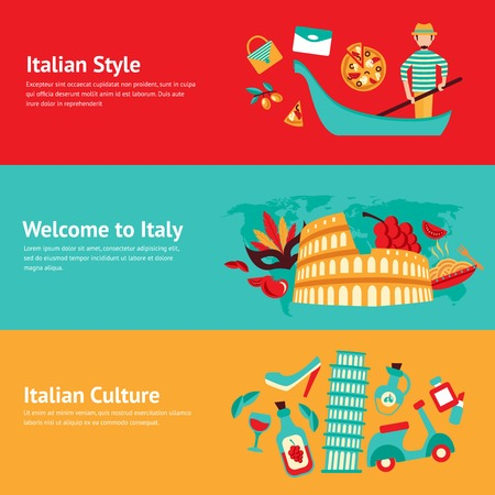 italian culture: Italy banner set with italian style culture isolated vector illustration