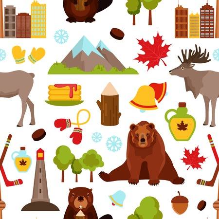 hockey: Canada colored seamless pattern with hockey maple syrup beaver vector illustration Illustration