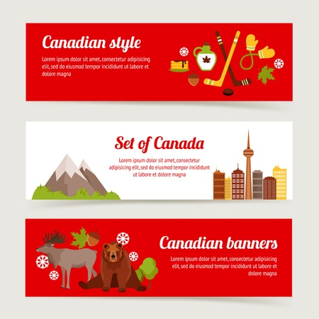 Canada colored horizontal banner set with sport animals architecture isolated vector illustration Vector