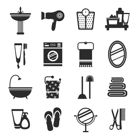 bath towel: Bathroom icons black and white set with wash basin hairdryer weights cream isolated vector illustration Illustration
