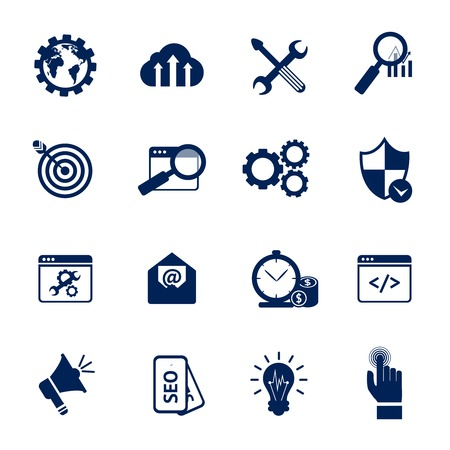 icons site search: SEO internet marketing media marketing web site optimisation black and white icons set isolated vector illustration Illustration