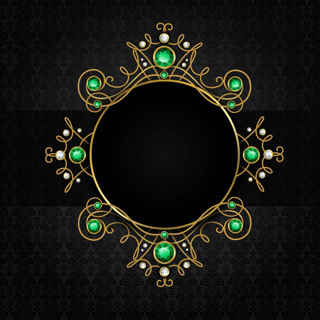 wedding accessories: Jewellery black classic vintage golden tiara with diamonds and green emeralds frame vector illustration