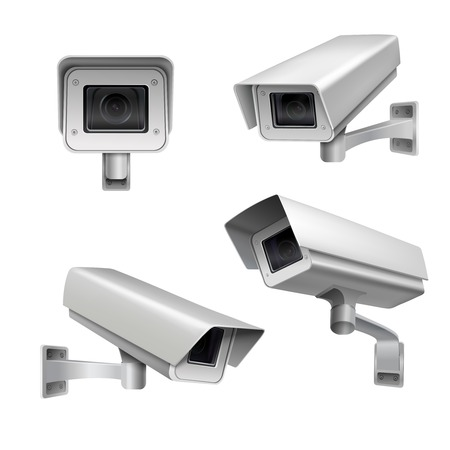 Surveillance camera safety home protection system decorative set isolated vector illustration