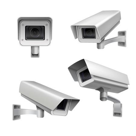 Caméra de surveillance système de protection de la maison de sécurité isolé ensemble décoratif illustration vectorielle