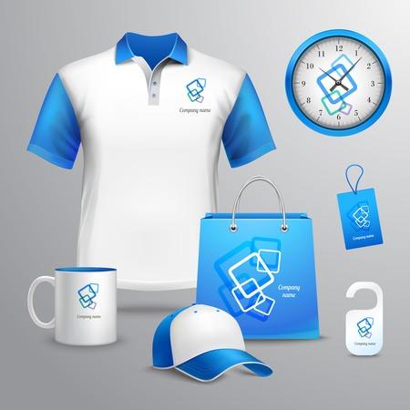 Huisstijl blauwe sjabloon decoratieve set met t-shirt klok cap vector illustratie Stock Illustratie