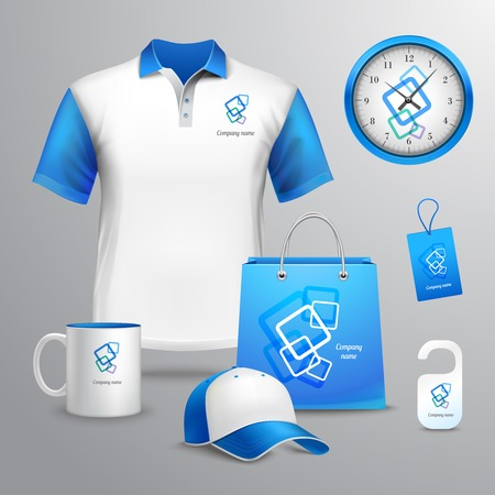 Corporate identity blue template decorative set with t-shirt clock cap vector illustration