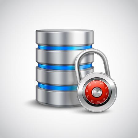 protected database: 3d base de datos con candado cerrado aislado en el fondo blanco almacenamiento seguro concepto de ilustraci�n vectorial Vectores