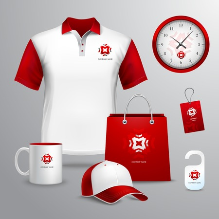 Corporate identity red template decorative set with paper bag tag mug vector illustration 일러스트