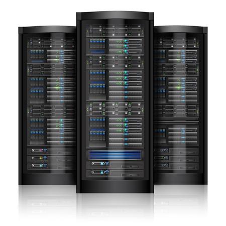 네트워크 서버 컴퓨터 하드웨어 기술은 흰색 배경 벡터 일러스트 레이 션에 고립