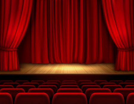 theater background: Theater stage with red velvet open retro style curtain background vector illustration Illustration