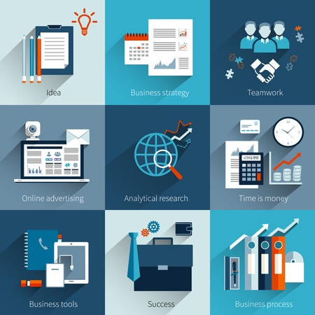 business finance: Business concept set with idea strategy teamwork online advertising isolated vector illustration
