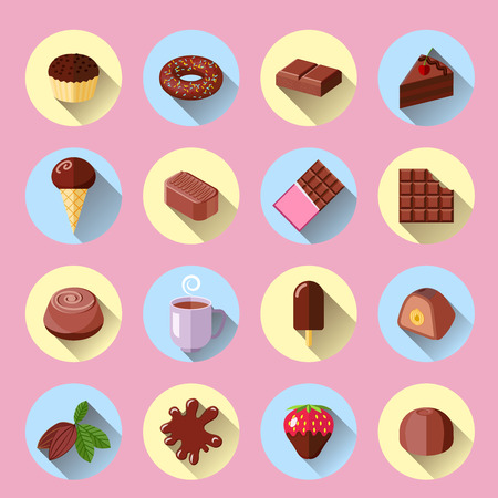 brown sugar: Chocolate ice cream sweet food bar flat icons set isolated vector illustration