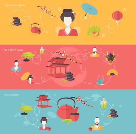tea ceremony: Japanese travel banner set with traditional geisha tea ceremony culture of japan isolated vector illustration