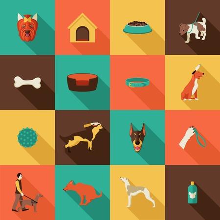 hueso de perro: Perro iconos conjunto plana con el aseo de mascotas casa cuello atención aislado ilustración vectorial Vectores