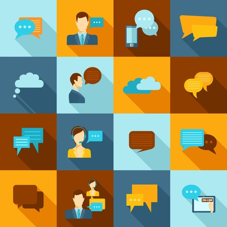 talking: Chat icons flat set with speech bubbles and talking people avatars isolated vector illustration
