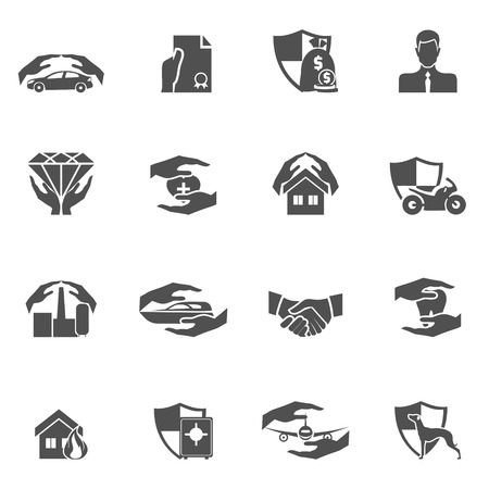 estate car: Insurance security icons black set of real estate property health car protection isolated vector illustration