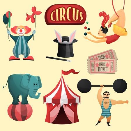 elementi: Circo set decorativo con tenda pagliaccio cappello magico illustrazione vettoriale isolato