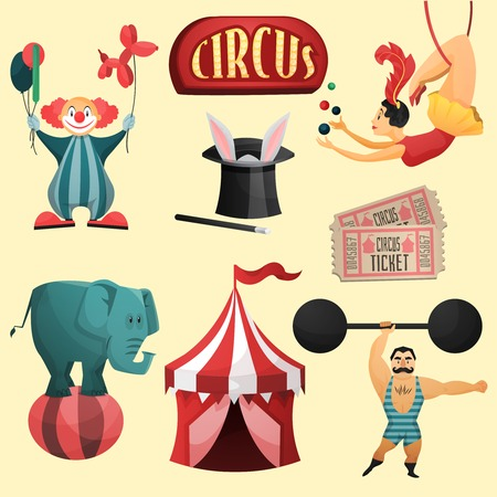 circus elephant: Circus decorative set with tent clown magic hat isolated vector illustration